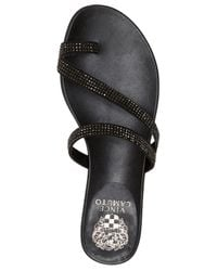 Vince Camuto | Black Evina Jeweled Flat Sandals | Lyst
