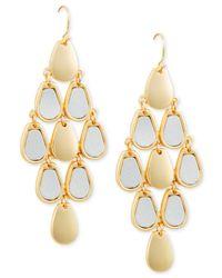 Guess - Metallic Gold-tone & White Faux Leather Chandelier Earrings - Lyst