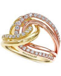 Effy Collection - Metallic Diamond Tri-tone Ring In 14k Gold (3/4 Ct. T.w.) - Lyst