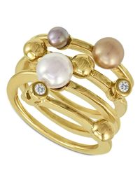 Majorica | White Endless Pearl Ring, 18k Gold Over Sterling Silver Multicolor Organic Man Made Pearl Ring | Lyst