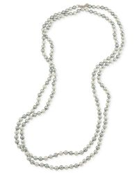 Carolee - Metallic Silver-tone Gray Imitation Pearl Long Length Necklace - Lyst