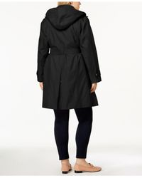 London Fog - Black Plus Size Double-breasted Trench Coat - Lyst