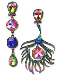 Betsey Johnson - Multicolor Oilslick-tone Multi-stone Peacock Mismatch Drop Earrings - Lyst