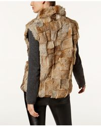 Surell - Multicolor Pockets & Front Zip Rabbit Fur Vest - Lyst