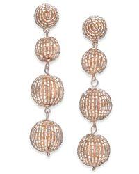INC International Concepts - Metallic Rose Gold-tone Beaded Orb Linear Drop Earrings - Lyst