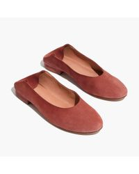 Madewell - Red The Sophia Fold-down Flat In Suede - Lyst