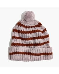 Madewell - Multicolor Stripe Pom-pom Beanie - Lyst