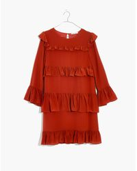 Madewell - Red Silk Waterlily Ruffle Dress - Lyst