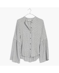 Madewell | Multicolor Bell-sleeve Button-down Shirt In Windowpane | Lyst