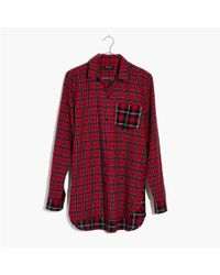 Madewell - Red Classic Ex-boyfriend Shirt In Plaid Patchwork - Lyst