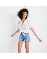 Madewell - White Embroidered Short-sleeve Tie-front Shirt In Fresh Strawberries - Lyst