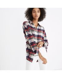 Madewell - Red Oversized Ex-boyfriend Shirt In Baker Plaid - Lyst