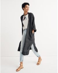 Madewell - Black Long Robe Jacket In Grid Pattern - Lyst