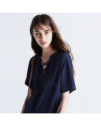 Madewell - Blue Novella Lace-up Dress - Lyst