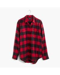 Madewell | Red Flannel Oversized Ex-boyfriend Shirt In Buffalo Check | Lyst