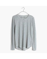 Madewell | Blue Whisper Cotton Long-sleeve Crewneck Tee In Hardy Stripe | Lyst