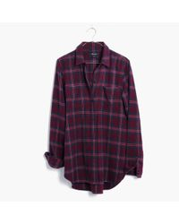 Madewell | Purple Flannel Classic Ex-boyfriend Shirt In Jensen Plaid | Lyst