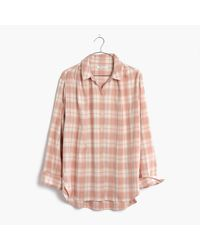 Madewell | Pink Central Long-sleeve Shirt In Danville Plaid | Lyst