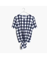 Madewell | Blue Plaid Button-back Tie Tee | Lyst