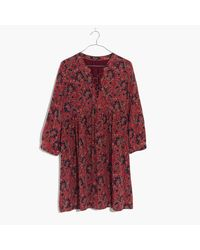 Madewell | Red Silk Lace-up Dress In Assam Floral | Lyst
