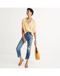 Madewell - Multicolor Central Ruched-sleeve Shirt In Gingham Check - Lyst
