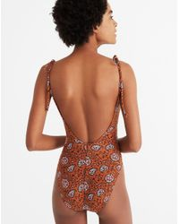 Madewell - Multicolor Shoulder-tie One-piece Swimsuit In Warm Paisley - Lyst