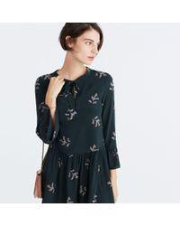 Madewell - Blue Silk Tie-neck Dress In Wild Botanic - Lyst