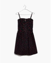 Madewell - Black Pintuck Cami Dress In Fresh Strawberries - Lyst