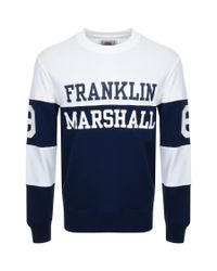 Franklin & Marshall - Blue Logo Sweatshirt Navy for Men - Lyst