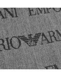 Armani Gray Emporio Logo Scarf Grey for men