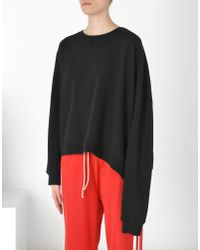 MM6 by Maison Martin Margiela - Black Asymmetric Sweatshirt - Lyst