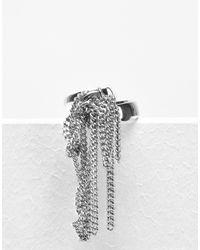 MM6 by Maison Martin Margiela - Metallic Fringe Chain Ring - Lyst
