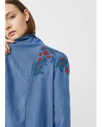 Mango - Blue Embroidered Denim Trench - Lyst