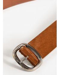 Mango - Natural Wide Leather Belt - Lyst