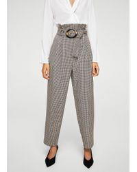 Mango | Red Tortoiseshell Buckle Check Trousers | Lyst