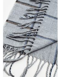 Mango - Gray Check Knit Scarf - Lyst