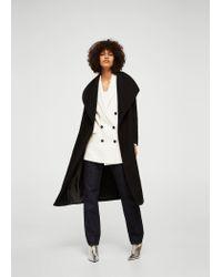 Mango - Black Belted Wool Coat - Lyst