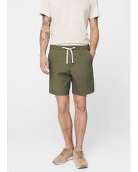 Mango   Green Stretch Cotton Bermuda Shorts   Lyst