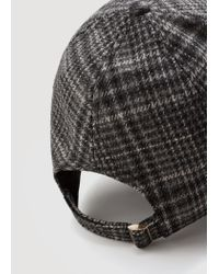 Mango - Gray Embroidered Wool Cap for Men - Lyst