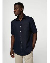 59a7290357b6 Mango 100% Linen Short Sleeve Shirt in Blue for Men - Lyst
