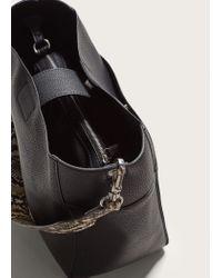 Violeta by Mango - Black Monochrome Snake-effect Bag - Lyst