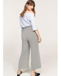 Violeta by Mango - Gray Straight Striped Trousers - Lyst