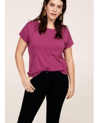 Violeta by Mango - Purple Essential Cotton-blend T-shirt - Lyst