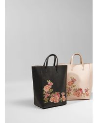 Mango - Black Floral Embroidery Shopper Bag - Lyst