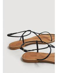 Mango - Black Decorative Strap Sandals - Lyst