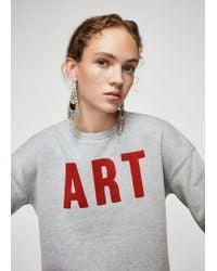 Mango - Gray Message Cotton Sweatshirt - Lyst