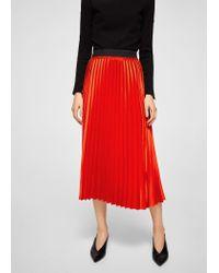 ab88c38477 Mango Metallic Pleated Skirt in Orange - Lyst