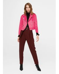 Mango - Pink Zipped Biker Jacket - Lyst