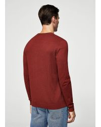 Mango - Red Ribbed Cotton-blend Sweater for Men - Lyst