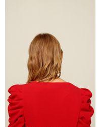 Mango - Red Puffed Sleeves Dress - Lyst